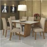 Conjunto Sala de Jantar Mesa Tampo MDF/Vidro Off White 6 Cadeiras Apogeu Móveis Lopas Rovere