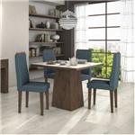 Conjunto Sala de Jantar Mesa Tampo Mdf/vidro Off White Nevada 100 4 Cadeiras Dafne Móveis Lopas Imbuia/rinzai Azul