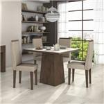 Conjunto Sala de Jantar Mesa Tampo Mdf/vidro Off White Nevada 100 4 Cadeiras Dafne Móveis Lopas Imbuia/rinzai Bege