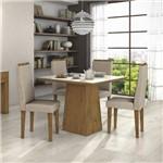 Conjunto Sala de Jantar Mesa Tampo Mdf/vidro Off White Nevada 100 4 Cadeiras Dafne Móveis Lopas Rovere/rinzai Bege