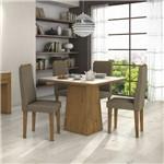 Conjunto Sala de Jantar Mesa Tampo Mdf/vidro Off White Nevada 100 4 Cadeiras Dafne Móveis Lopas Rovere/suede Animalle Bege