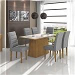 Conjunto Sala de Jantar Mesa Tampo MDF/Vidro Off White Nevada 6 Cadeiras Fiorella Móveis Lopas