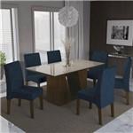 Conjunto Sala de Jantar Mesa Tampo MDP/Vidro e 6 Cadeiras Romã Kappesberg Marrom Walnut/Azul