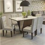 Conjunto Sala de Jantar Mesa Tampo MDP/Vidro e 6 Cadeiras Suede Jasmim Kappesberg Marrom