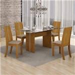 Conjunto Sala de Jantar Mesa Tampo Vidro 120cm Havaí e 4 Cadeiras Vitória Leifer Imbuia Mel/Linho