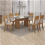 Conjunto Sala de Jantar Mesa Tampo Vidro 160cm 6 Cadeiras Hawaí Imbuia Mel - Leifer