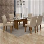 Conjunto Sala de Jantar Mesa Tampo Vidro 160cm Havaí e 6 Cadeiras Olímpia Leifer Canela/Linho