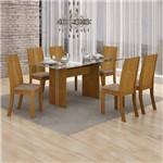 Conjunto Sala de Jantar Mesa Tampo Vidro 160cm Havaí e 6 Cadeiras Vitória Leifer Imbuia