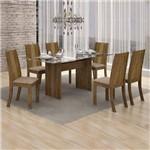 Conjunto Sala de Jantar Mesa Tampo Vidro 160cm Havaí e 6 Cadeiras Vitória Leifer Ypê/Linho Bege