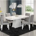 Conjunto Sala de Jantar Mesa Tampo Vidro 6 Cadeiras Olivia Cimol Branco/Platina