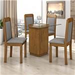 Conjunto Sala de Jantar Mesa Tampo Vidro 90cm Petra 4 Cadeiras Pérola Móveis Lopas Rovere