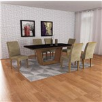Conjunto Sala de Jantar Mesa Tampo Vidro/mdf Preto Lunara 6 Cadeiras Lunara Rufato Imbuia/suede