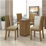 Conjunto Sala de Jantar Mesa Tampo Vidro Petra 4 Cadeiras Suede Florença Móveis Lopas Rovere