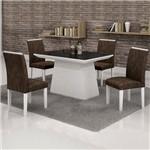 Conjunto Sala de Jantar Mesa Tampo Vidro Preto 4 Cadeiras Sevilha Cel Móveis Branco/ Suede Pena