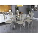 Conjunto Sala de Jantar Mesa Ural 6 Cadeiras Lisboa Crome Kappesberg Linho Marrom