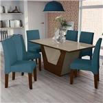 Conjunto Sala de Jantar Mesa Verbena e 6 Cadeiras Walnut/bronze/azul - Kappesberg
