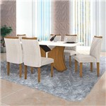 Conjunto Sala de Jantar Mesa Vidro Branco 6 Cadeiras Munique Leifer Imbuia Mel/Branco