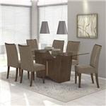 Conjunto Sala de Jantar Mesa Vidro Incolor 180cm Rock 6 Cadeiras Apogeu Móveis Lopas Imbuia