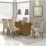 Conjunto Sala de Jantar Mesa Vidro Incolor 160cm Rock 6 Cadeiras Apogeu Móveis Lopas Rovere