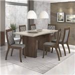 Conjunto Sala de Jantar Mesa Vidro Off White 6 Cadeiras Merengue Móveis Lopas Imbuia Soft/Off