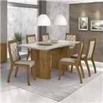 Conjunto Sala de Jantar Mesa Vidro Off White 6 Cadeiras Merengue Móveis Lopas Rovere Soft/Off