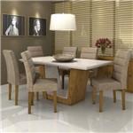 Conjunto Sala de Jantar Mesa Vidro Off White Apogeu 6 Cadeiras Fiorella Móveis Lopas