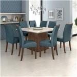 Conjunto Sala de Jantar Mesa Vidro Off White Nevada 130cm 8 Cadeiras Camini Móveis Lopas Imbuia Soft/off White/linho Rinzai Azul