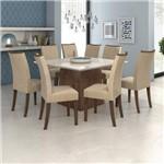 Conjunto Sala de Jantar Mesa Vidro Off White Nevada 130cm 8 Cadeiras Camini Móveis Lopas Imbuia Soft/off White/veludo Naturale Creme