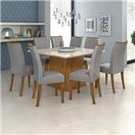 Conjunto Sala de Jantar Mesa Vidro Off White Nevada 130cm 8 Cadeiras Camini Móveis Lopas Rovere Soft/off White/linho Rinzai Cinza