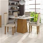 Conjunto Sala de Jantar Mesa Vidro Off White Nevada 4 Cadeiras Dafne Móveis Lopas Rovere