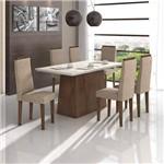 Conjunto Sala de Jantar Mesa Vidro Off White Nevada 6 Cadeiras Dafne Móveis Lopas Imbuia Soft/Off