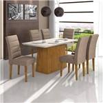 Conjunto Sala de Jantar Mesa Vidro Off White Nevada 6 Cadeiras Fiorella Móveis Lopas Rovere