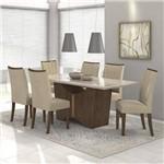 Conjunto Sala de Jantar Mesa Vidro Off White Rock 6 Cadeiras Apogeu Móveis Lopas Imbuia Soft/veludo Naturale Creme
