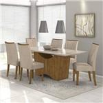 Conjunto Sala de Jantar Mesa Vidro Off White Rock 6 Cadeiras Apogeu Móveis Lopas Rovere Soft/Off