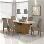 Conjunto Sala de Jantar Mesa Vidro Off White Rock 6 Cadeiras Apogeu Móveis Lopas