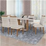 Conjunto Sala de Jantar Mesa Vidro Offwhite 6 Cadeiras Atlanta Pampulha Leifer Imbuia Mel/Linhão
