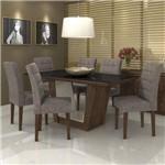 Conjunto Sala de Jantar Mesa Vidro Preto Apogeu 6 Cadeiras Fiorella Móveis Lopas Imbuia/Velvet