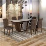 Conjunto Sala de Jantar Mesa Viggor Tampo de Vidro 6 Cadeiras Belle Cel Móveis Chocolate/Animale