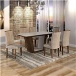 Conjunto Sala de Jantar Mesa Viggor Tampo de Vidro 6 Cadeiras Belle Cel Móveis Chocolate/Pena 84