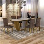 Conjunto Sala de Jantar Mesa Viggor Tampo de Vidro 6 Cadeiras Belle Cel Móveis Ypê/Animale Marrom