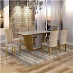 Conjunto Sala de Jantar Mesa Viggor Tampo de Vidro 6 Cadeiras Belle Cel Móveis Ypê/Pena 84