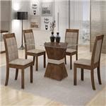 Conjunto Sala de Jantar Mesa Vitória Tampo de Vidro 4 Cadeiras Rubi Cel Móveis Chocolate/Off