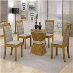 Conjunto Sala de Jantar Mesa Vitória Tampo de Vidro 4 Cadeiras Rubi Cel Móveis Ypê/Off