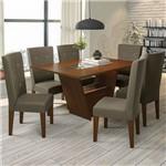 Conjunto Sala de Jantar Mesa Zattar e 6 Cadeiras Walnut/cacau - Kappesberg