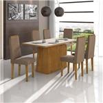 Conjunto Sala de Jantar Nevada 6 Cadeiras Dafne Rovere Animale Bege