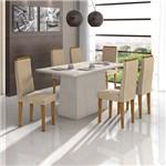 Conjunto Sala de Jantar Nevada 6 Cadeiras Dafne Rovere Veludo Naturale Creme