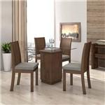 Conjunto Sala Jantar 4 Cadeiras Imbuia Linho Rinzai Cinza