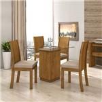 Conjunto Sala Jantar 4 Cadeiras Rovere Linho Rinzai Bege