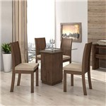 Conjunto Sala Jantar Vd 4 Cadeiras Imb Li Rinzai Bege