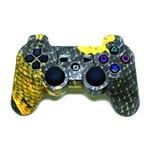 Controle para Playstation 3 Sem Fio Ps3 Escama Preto e Amarelo